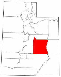 Utah Map showing Emery County