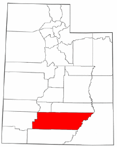 Utah Map showing Garfield County