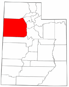 Utah Map showing Tooele County