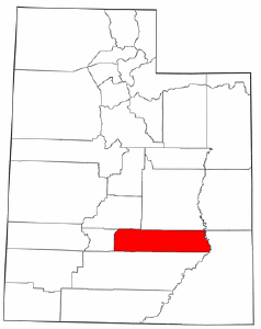Utah Map showing Wayne County