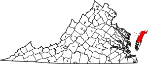 Virginia Map showing Accomack County
