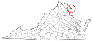 Virginia Map showing Arlington County
