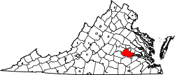 Virginia Map showing Chesterfield County