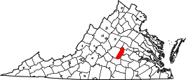 Virginia Map showing Cumberland County