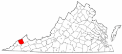 Virginia Map showing Dickenson County