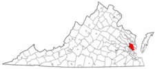 Virginia Map showing Gloucester County