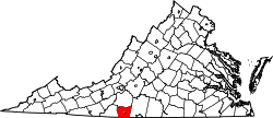 Virginia Map showing Henry County