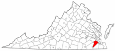 Virginia Map showing Isle of Wight County