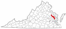Virginia Map showing King and Queen County