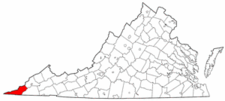 Virginia Map showing Lee County