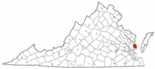 Virginia Map showing Mathews County
