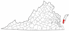 Virginia Map showing Northampton County
