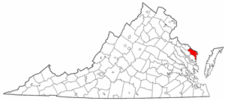 Virginia Map showing Northumberland County