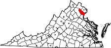 Virginia Map showing Prince William County
