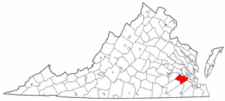Virginia Map showing Surry County