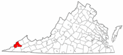 Virginia Map showing Wise County