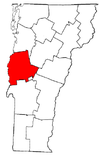 Vermont Map showing Addison County