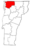 Vermont Map showing Franklin County