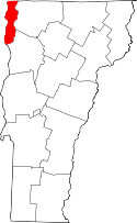 Vermont Map showing Grand Isle County