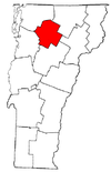 Vermont Map showing Lamoille County