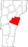Vermont Map showing Orange County
