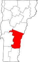 Vermont Map showing Windsor County