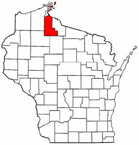 Wisconsin Map showing Ashland County