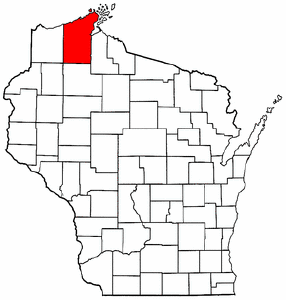 Wisconsin Map showing Bayfield County