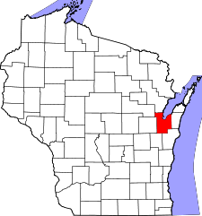 Wisconsin Map showing Brown County