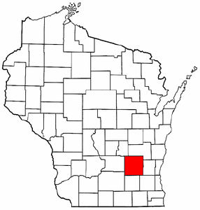 Wisconsin Map showing Dodge County