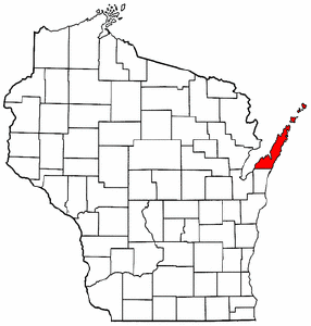 Wisconsin Map showing Door County