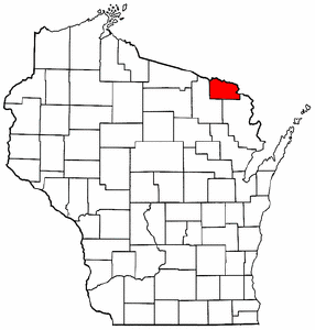 Wisconsin Map showing Florence County