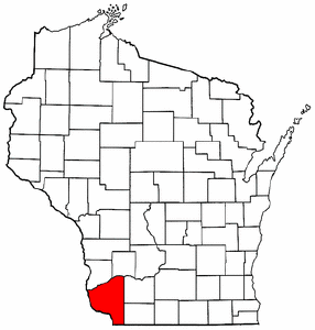 Wisconsin Map showing Grant County