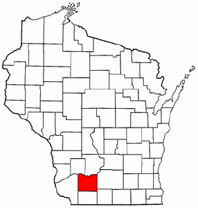 Wisconsin Map showing Iowa County