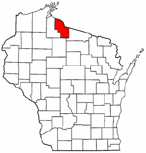 Wisconsin Map showing Iron County