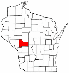 Wisconsin Map showing Jackson County