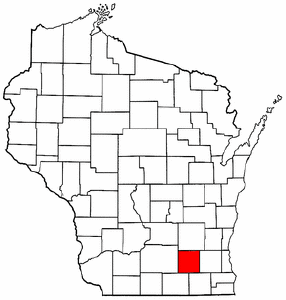 Wisconsin Map showing Jefferson County