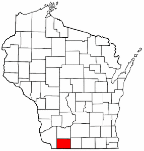 Wisconsin Map showing Lafayette County