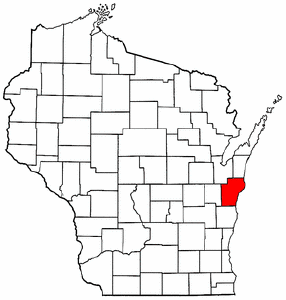 Wisconsin Map showing Manitowoc County