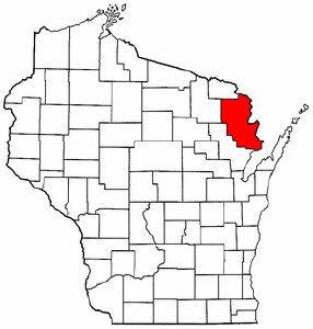 Wisconsin Map showing Marinette County