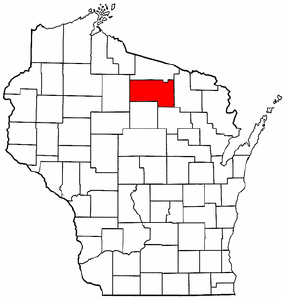 Wisconsin Map showing Oneida County