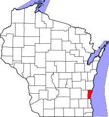 Wisconsin Map showing Ozaukee County