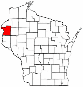 Wisconsin Map showing Polk County