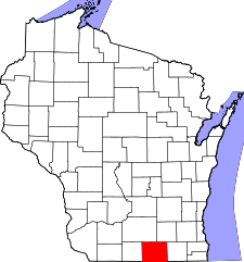Wisconsin Map showing Rock County
