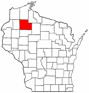 Wisconsin Map showing Sawyer County