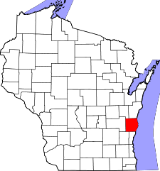 Wisconsin Map showing Sheboygan County