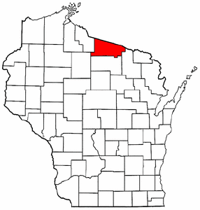 Wisconsin Map showing Vilas County