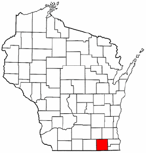 Wisconsin Map showing Walworth County