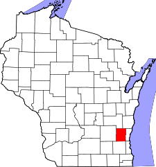 Wisconsin Map showing Washington County