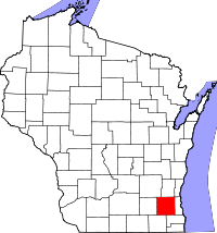 Wisconsin Map showing Waukesha County